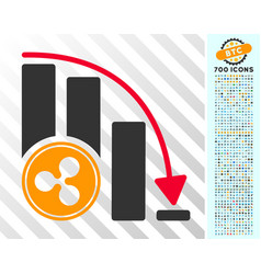 Ripple falling acceleration chart flat icon vector