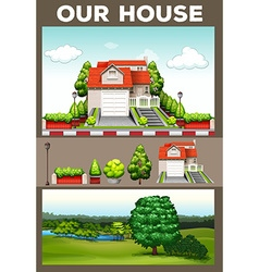 Scenes with house and park vector image