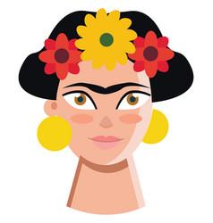 Self portrait mexican artist frida kahlo vector