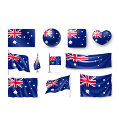set australia realistic flags banners banners vector image