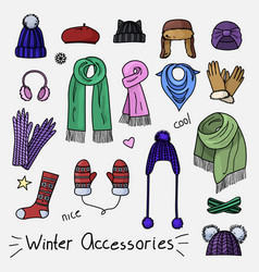 set of hand drawn women accessories winter vector image