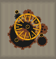 set steampunk design elements vector image