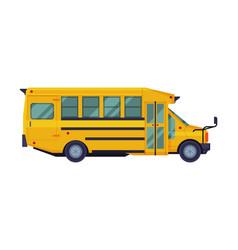side view yellow school bus school students vector image