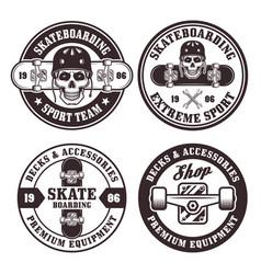 skateboarding set four round badges vector image