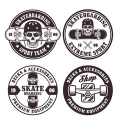 skateboarding set of four round badges vector image