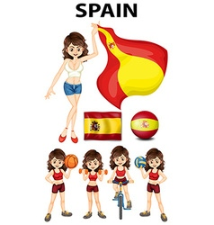 Spainish girl and many sports vector image