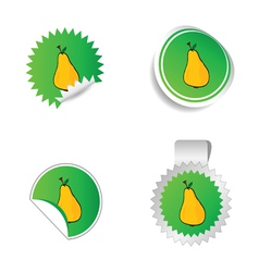 sticker green color with yellow pear vector image