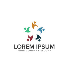 teamwork people logos design concept template vector image