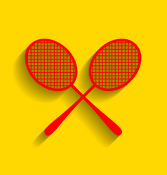 tennis racquets sign red icon with soft vector image