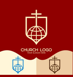 The cross of jesus and the globe vector