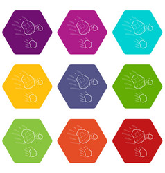 Throwing stones icons set 9 vector