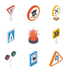 traffic signs isometric pack vector image