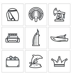 United Arab Emirates icons set vector image vector image