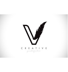 V feather letter logo icon design with feather vector