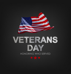 Veterans day with usa flag vector