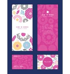 Vibrant floral scaterred vertical frame pattern vector