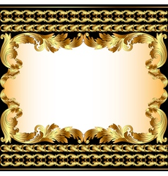 Vintage background with gold pattern vector