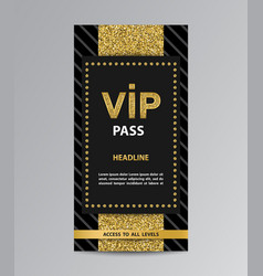 Vip pass admission with glittering stripe vector