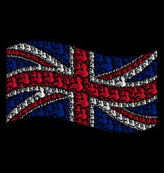 Waving great britain flag collage of rooster items vector