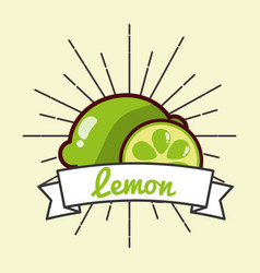 whole and slice lemon fruit organic vitamins vector image