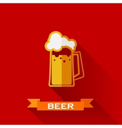 With beer pint icon in flat design style long vector