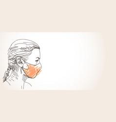 Woman in face mask for coronavirus prevention vector