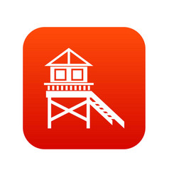 wooden stilt house icon digital red vector image