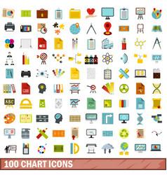 100 chart icons set flat style vector image