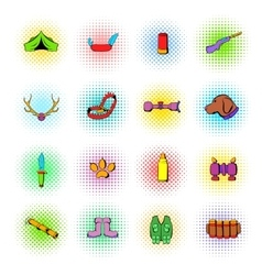 Hunting set icons comics style vector image vector image