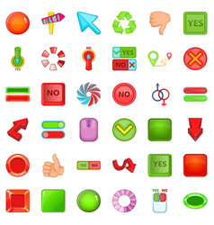 arrow and button icons set cartoon style vector image