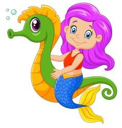 Cartoon happy mermaid swimming with seahorse vector image