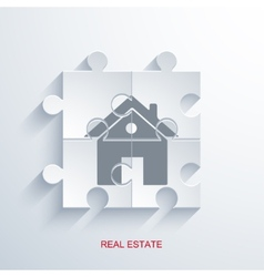 concept real estate with puzzle vector image