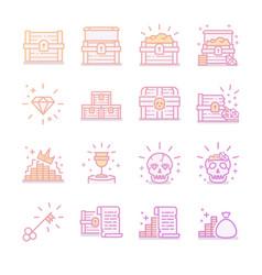 treasure chest icon set vector image vector image