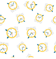 alarm clock seamless pattern background vector image vector image