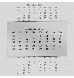 calendar month for 2016 pages December start vector image vector image