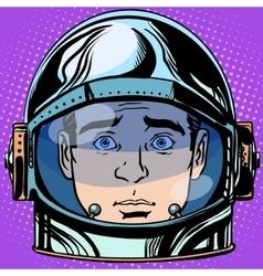 emoticon surprise Emoji face man astronaut retro vector image vector image