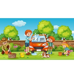 Father and son cleaning car in the yard vector image