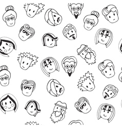 Hand drawn seamless pattern with cute faces vector image vector image