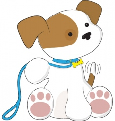 cute puppy and leash them vector image