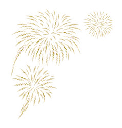gold fireworks on white background vector image vector image