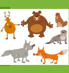 happy wild animal characters set vector image