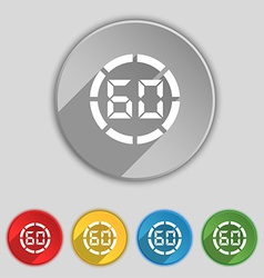 60 second stopwatch icon sign symbol on five flat vector