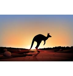 A sunset with kangaroo vector