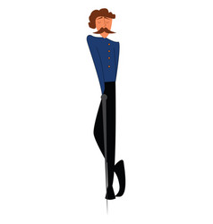 A tall and skinny gentleman dressed in blue black vector