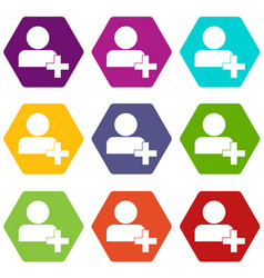 add new user account icon set color hexahedron vector image