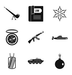 Ammunition icons set simple style vector