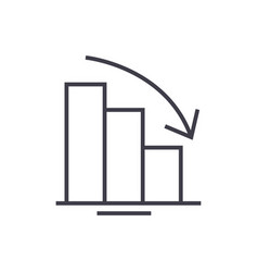 Bars descending graph line icon sign vector