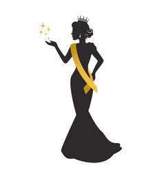 Beauty queen silhouette vector