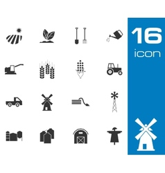 Black Farming Icons Set on white background vector image