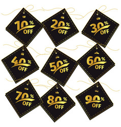 black sticker discount persent with gold color vector image